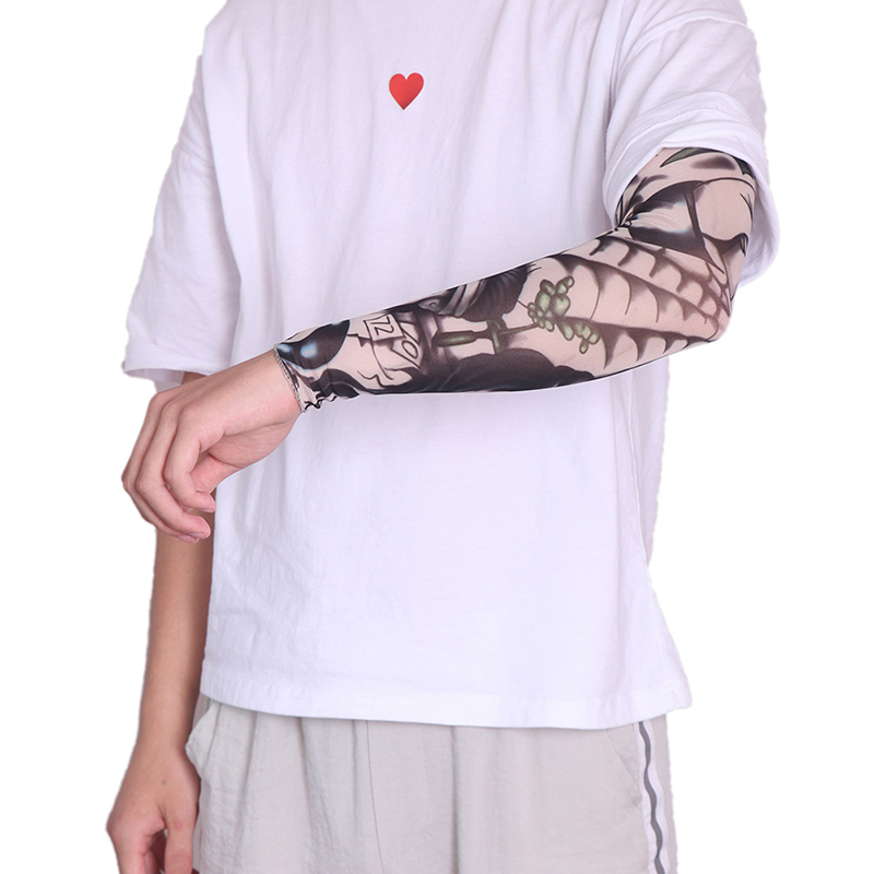 1pc Tattoo Sleeve Quick Dry Cycling Running Comfortable Cool Long Arm Warmers Art Designs Nylon Elastic Temporary