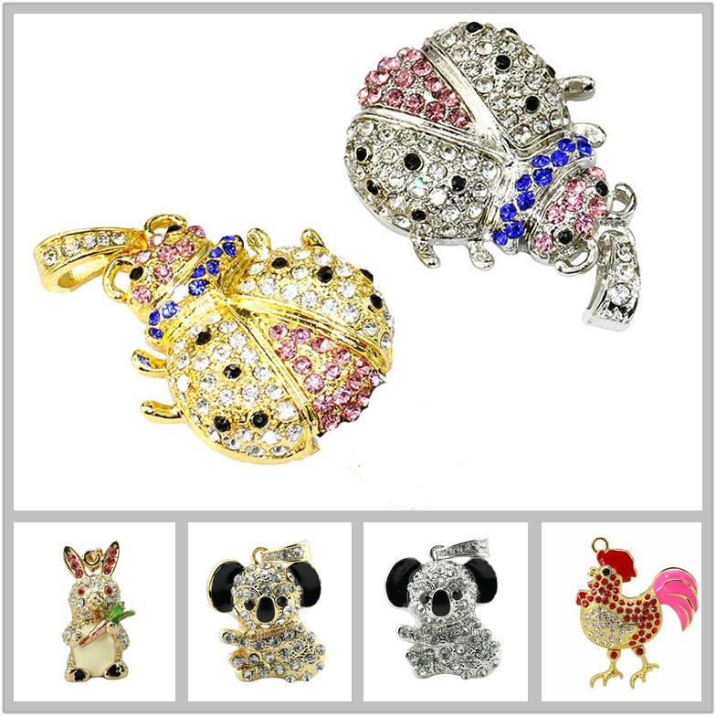 Diamant Tier <font><b>Koala</b></font> Elefant USB Flash Drive 4GB 8GB 16GB <font><b>32GB</b></font> USB2.0 Stift Stick Marienkäfer Kristall käfer Stick Memory Stick image