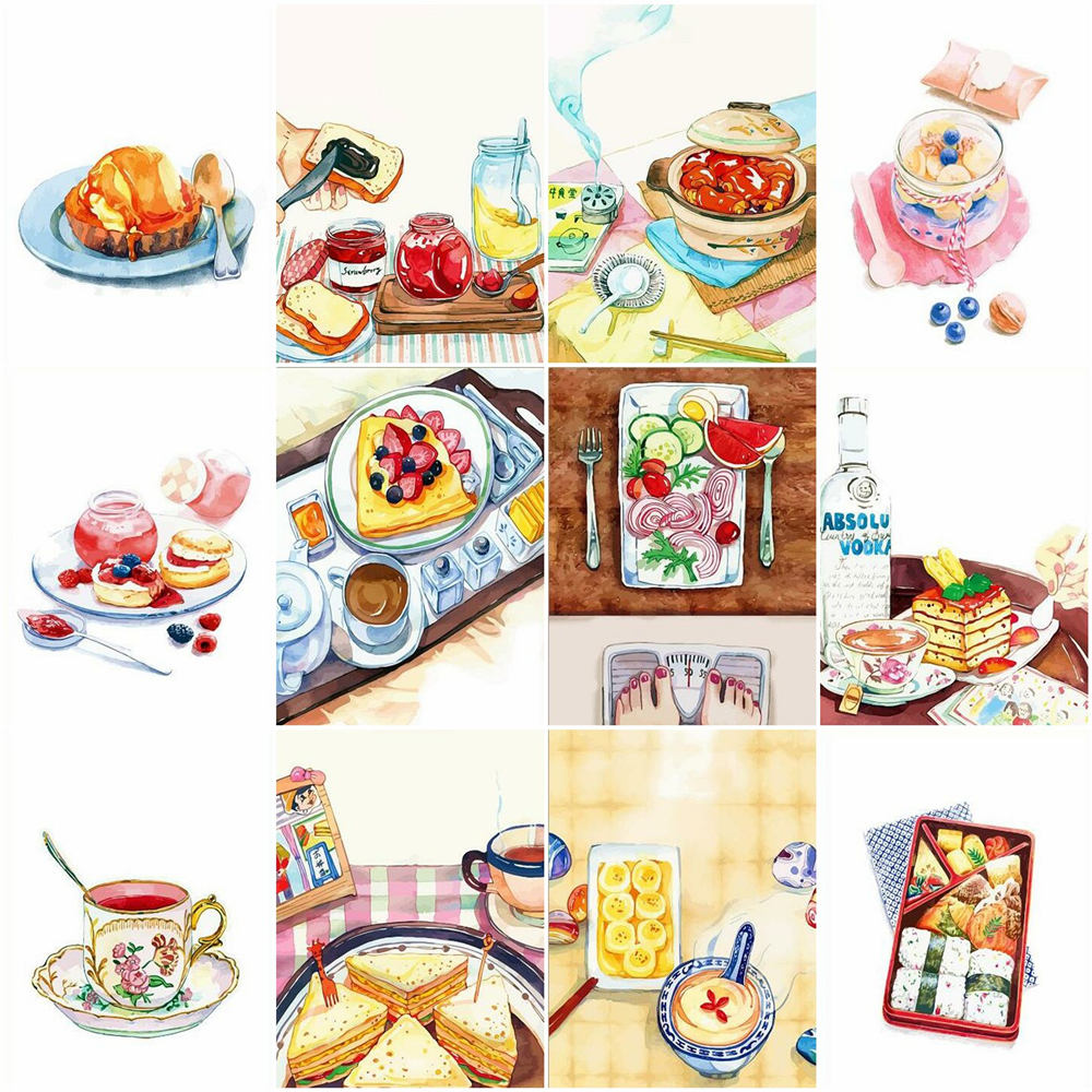 HUACAN Painting By Numbers Food Drawing On Canvas HandPainted Gift Picture By Number Still Life Kits Home Decoration