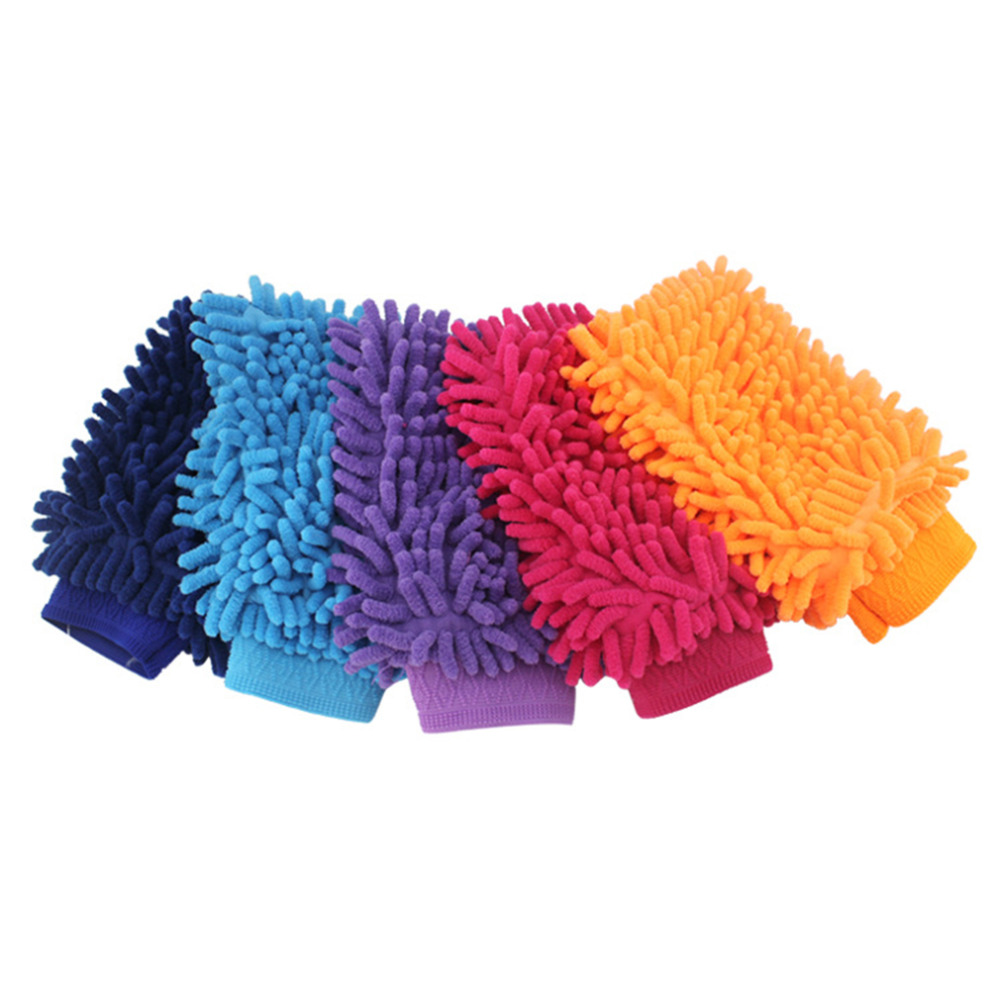 Random Color Small Size 2 Sided 1pc Super Mitt Microfiber Household Car Wash Cleaning Gloves Washer Anti Scratch Wholesale