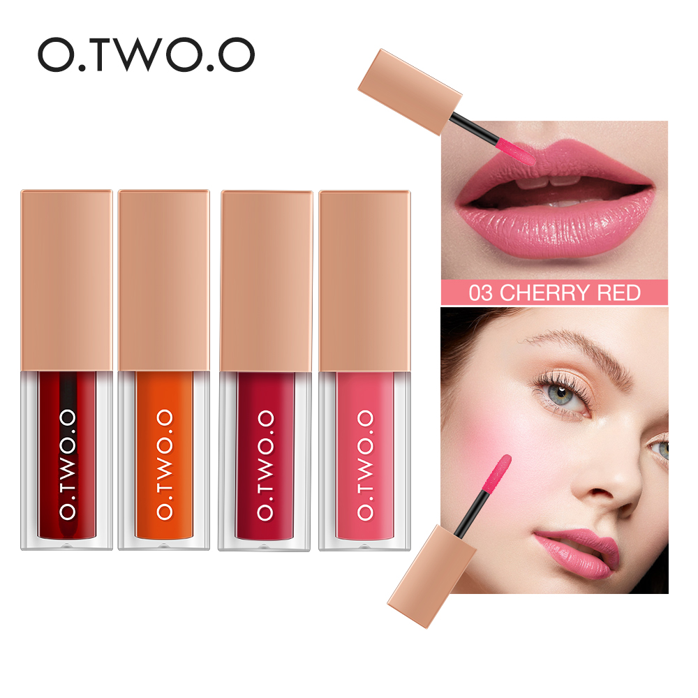 O.TWO.O 4pcs/set Multi Effect Lip Gloss Blush Liquid Orange Pink Red Color Smooth Pigment Soft Silky Cosmetic