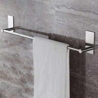 Stainless Steel Fixed Bath Towel Holder Bathroom Towel Bar Wall Mounted Towel Hanger Single Hook Dual Towel Racks 55/40CM
