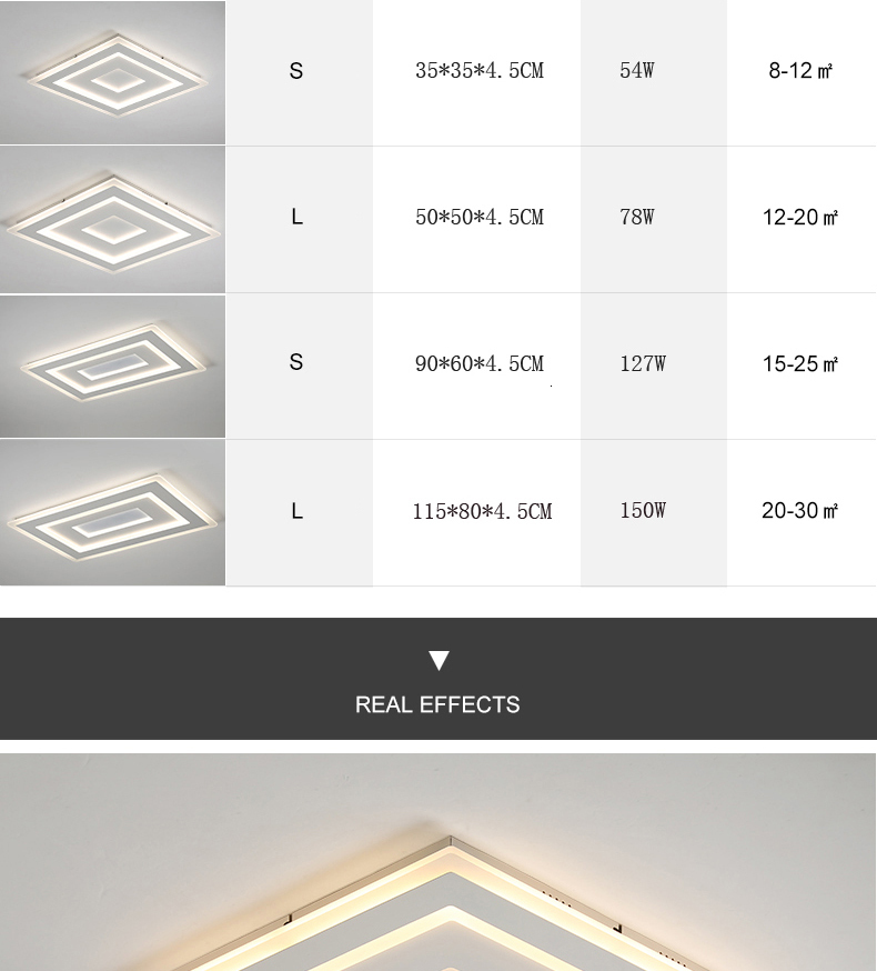 H3701f0f031aa47f299f90fc5da5b3cf8O Surface Mounted Modern Led Ceiling Lights for living room bedroom Ultra-thin lamparas de techo Rectangle Ceiling lamp fixtures