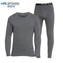 Ropa interior térmica fina de algodón ALANSHOW de invierno con cuello redondo cálido y largo