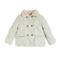 girls down jacket turn down collar solid color kids boys girls outwear thicken warm clothes kids outwear