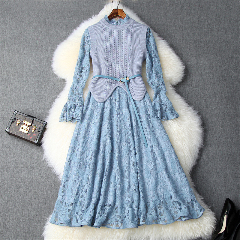 New Fashion Fall Winter Dresses for Women 2019 Designers Irregular Knitted Top+Flare Sleeve Aline Lace Party Dresses 2piece Sets 51