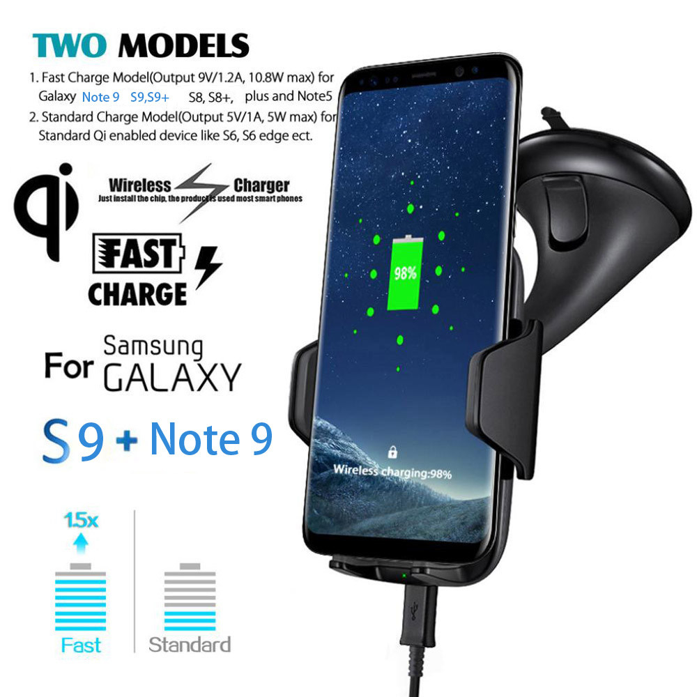 Qi Wireless Fast Charger Dock Car Holder Charging Mount Pad For Samsung Note 9