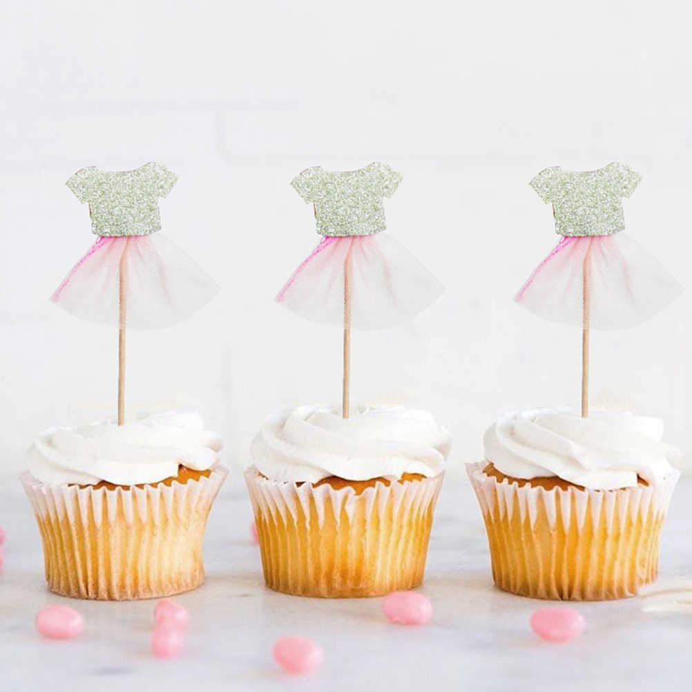 12 Blanco Bebé Niño Chaleco Comestible Pastel Cupcake Decoración Toppers Cumpleaños De Ducha