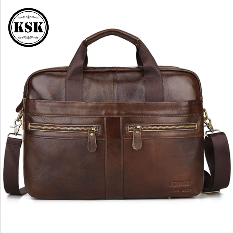 Men's Briefcase Bag Genuine Leather Briefcase Laptop Bag For Men Messenger Bags 2020 High Quality Office Shoulder Bags KSK