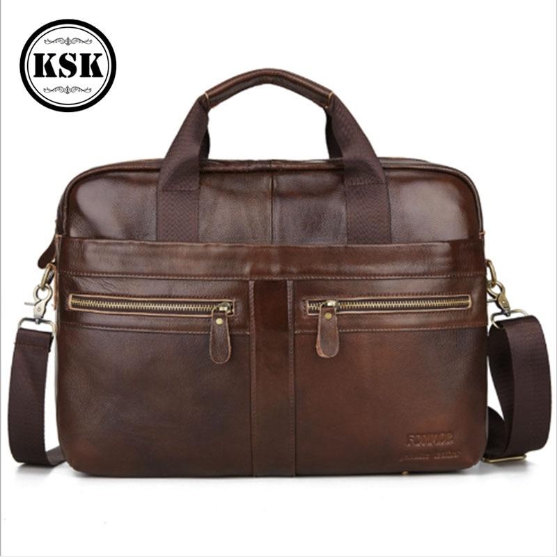 Men's Briefcase Bag Genuine Leather Briefcase Laptop Bag For Men Messenger Bags 2020 High Quality Office Shoulder Bags KSK