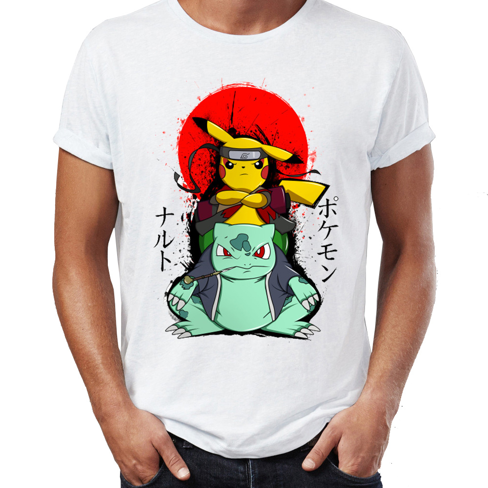Men's T Shirt Pikachu Mashup With Naruto Sensei Kakashi Tokyo Ghoul The Last Airbender Artsy Awesome Artwork Printed Tee