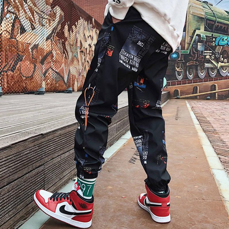 Pants Men Hip Hop Pants Mens Joggers Print Korean Streetwear Pants Techwear Clothes Trousers Casual Elastic Waist Black White