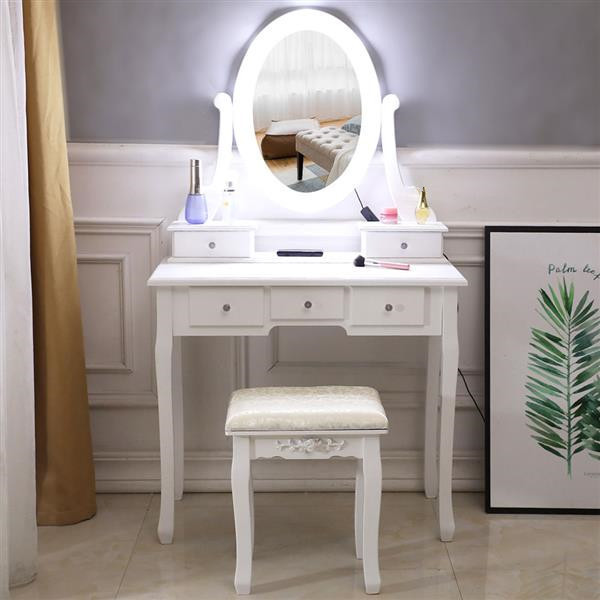 Dressing Table With Light Single Mirror Dressing Table with 5 Drawer For Makeup 1