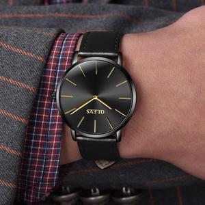 Image 5 - 남성 울트라 씬 쿼츠 시계 OLEVS 탑 브랜드 럭셔리 손목 시계 캐주얼 비즈니스 가죽 시계 로즈 방수 남자 시계 Reloj