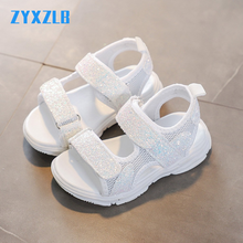 Summer Children Sandals Girl Princess Sandals Sequined White Pink Sandals Mesh Breathable Luminous Kids Sneakers Baby Girl Shoes