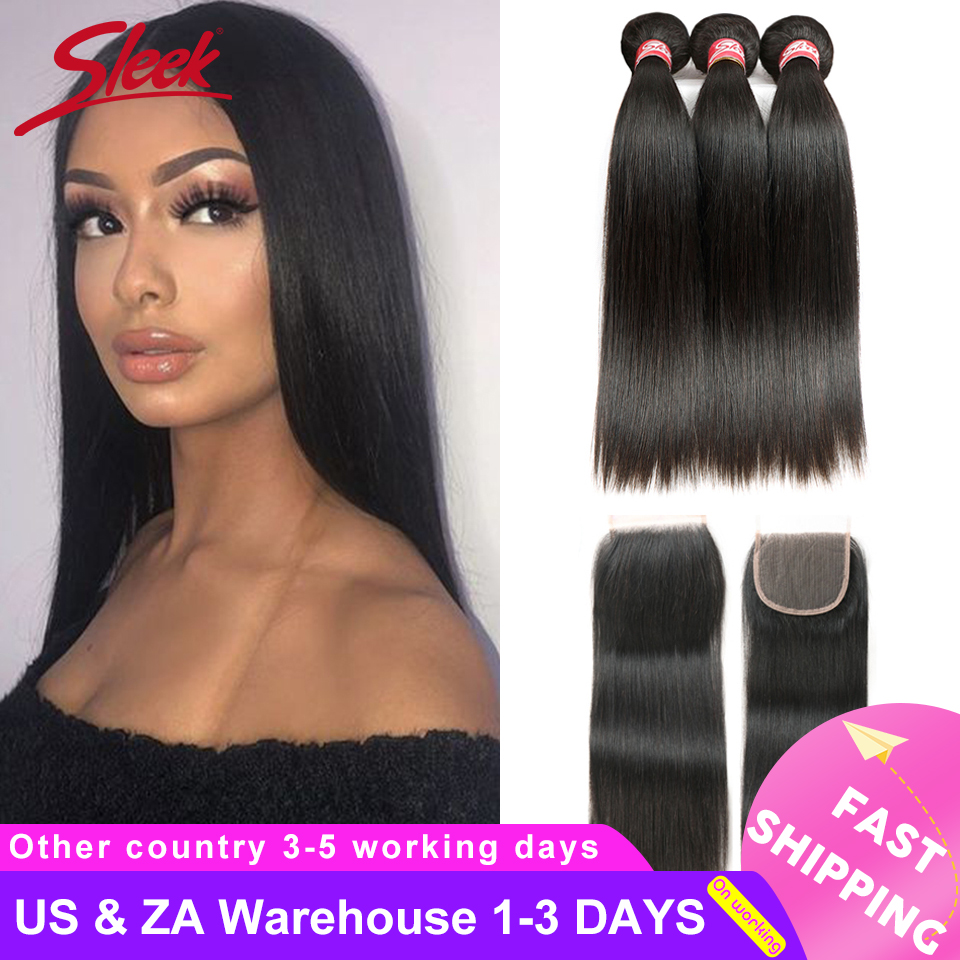Sleek Straight Hair Bundles With Closure Non Remy Human Hair 3 Bundles With Closure Peruvian Hair Bundles With Closure