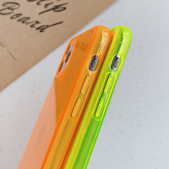 LOVECOM Neon Fluorescent Solid Color Phone Case For iPhone 11 Pro Max XR X XS Max 7 8 Plus Case Soft IMD Clear Phone Back Cover