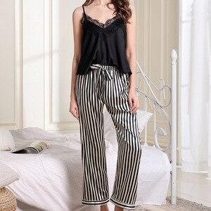 Image 4 - Pijama con borde de encaje para mujer, Sexy, con escote en V profundo, conjunto de pantalón largo con tirantes finos