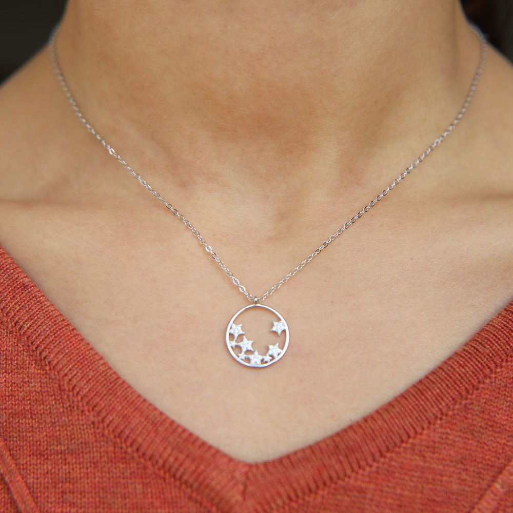 simple geometric design round charm with star cluster unique girl women minimal 100% 925 sterling silver star cz necklace