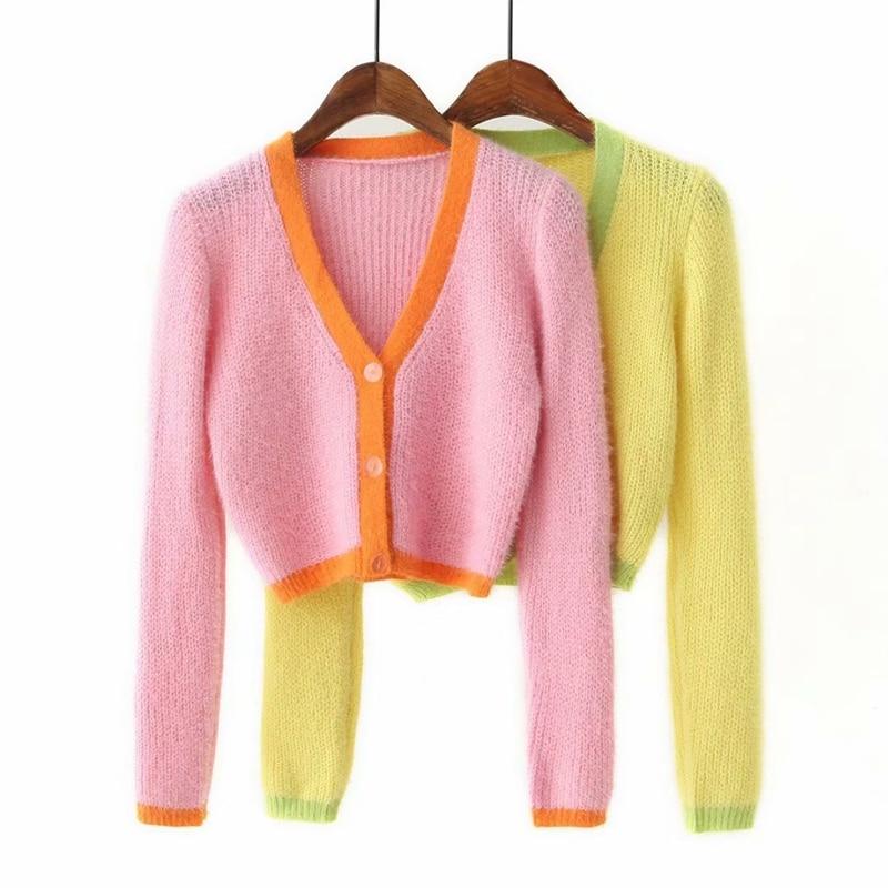 Pink cardigan womens sweaters korean crop sweater yellow autumn tops short sleeve v neck short cardigan mohair sweater fall 19 16