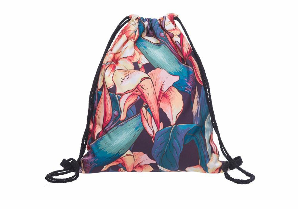New Fashion Women Backpack Leaf Flower 3D Printing Travel Softback Women Mochila Drawstring Bag Mens Backpacks Girls Backpack