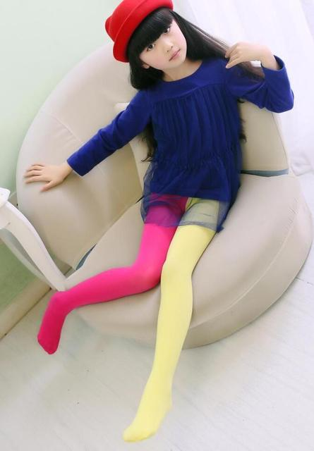 New Spring Summer Patchwork Girls Tights Velvet Pantyhose Baby Dancing Tights Mix Color Stockings For Girls Age 3-12T 3