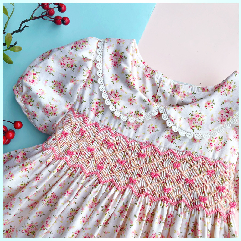 Kids Dresses For Girl Smocking Summer Baby Girl Blue Vintage Dress Toddler Doll Smocked Dresses Flower Embroidery Dress For Girl