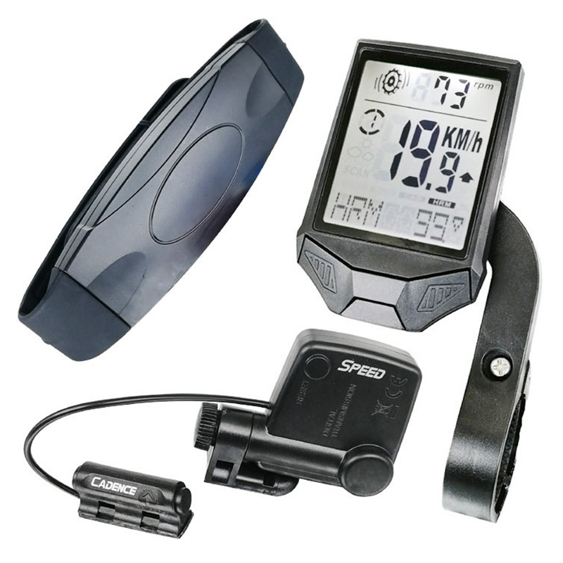 3-in-1 Wireless LCD Bicycle Cycling Computer Cadence Sensor Heart Rate Monitor Chest Strap Bike Meter Speed Holder For Ciclismo