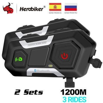 HEROBIKER-Casco Intercomunicador para motocicleta, auriculares inalámbricos con altavoz, interfono, 1200M