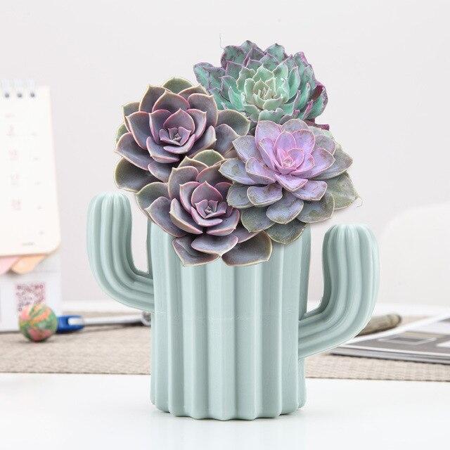 Plastic Vase Home Decoration European Anti-ceramic Cactus Wedding Decoration Unbreakable Creative Pen Holder Storage Box 2