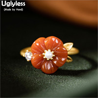 Uglyless Gold Plated Real 925 Sterling Silver Floral Rings for Women Natural Agate Flower Open Rings Pearls Fine Jewelry R1008