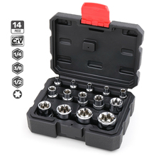 14pcs Portable 1/4 3/8 1/2 Torx Star Socket Set Adapter E Type E4-E24 Sockets Wrench Head Auto Car Repair Hand Tools 5pcs e socket sockets 1 4 inch 6 3mm torx star bits chromium vanadium steel female socket nuts set e4 e5 e6 e7 e8 hand tools