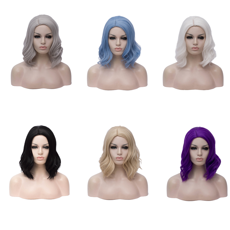 Image 4 - VICWIG Synthetic Red Wigs for Women Short Curly Purple Cosplay Wig White Grey BlondeSynthetic None-Lace  Wigs   -