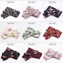 Men Bowtie Pocket Squares Cotton Flower Wedding Party Butterfly Necktie Cravat Male Shirt Accessorie