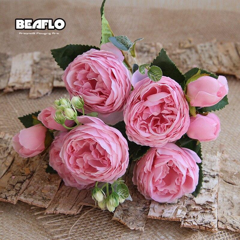 1Bundle Flowers Bouquet Silk Flower Artificial Camellia Buds Wedding Table Decor
