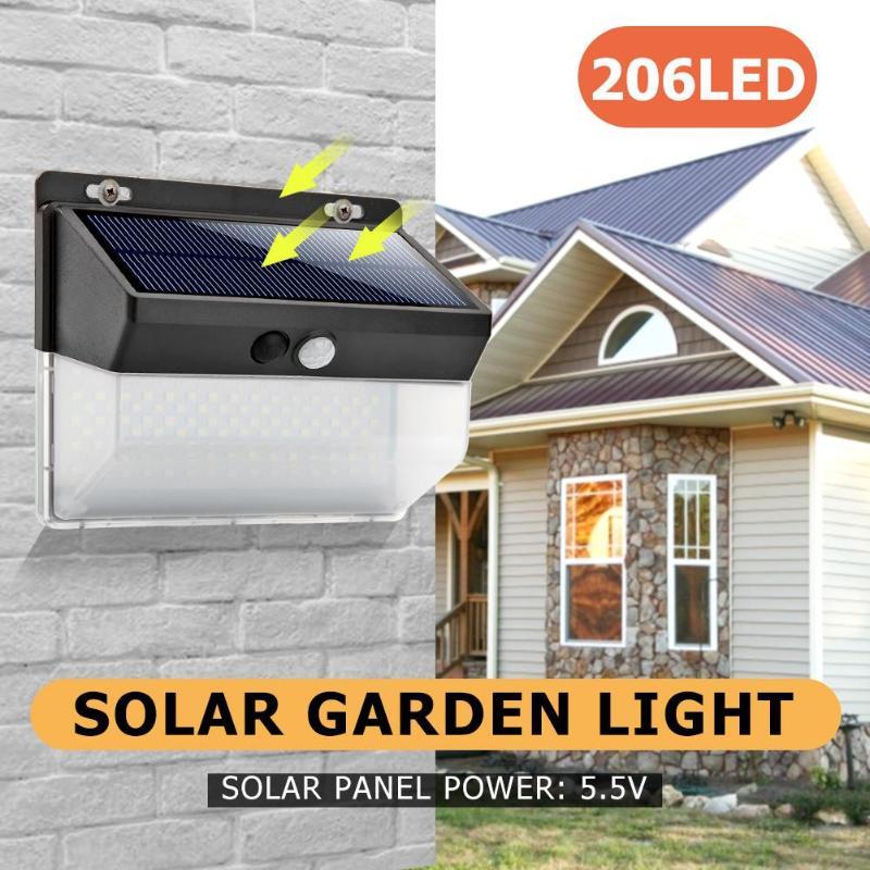 118/206LED Solar Motion Sensor Wall Light Outdoor Waterproof Garden Street Lamp Luminaria Solar Light