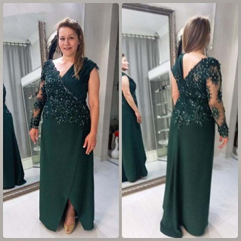 Plus Size Mother Of The Bride Dresses A-line V-neck Chiffon Appliques Beaded Long Groom Mother Dresses For Weddings