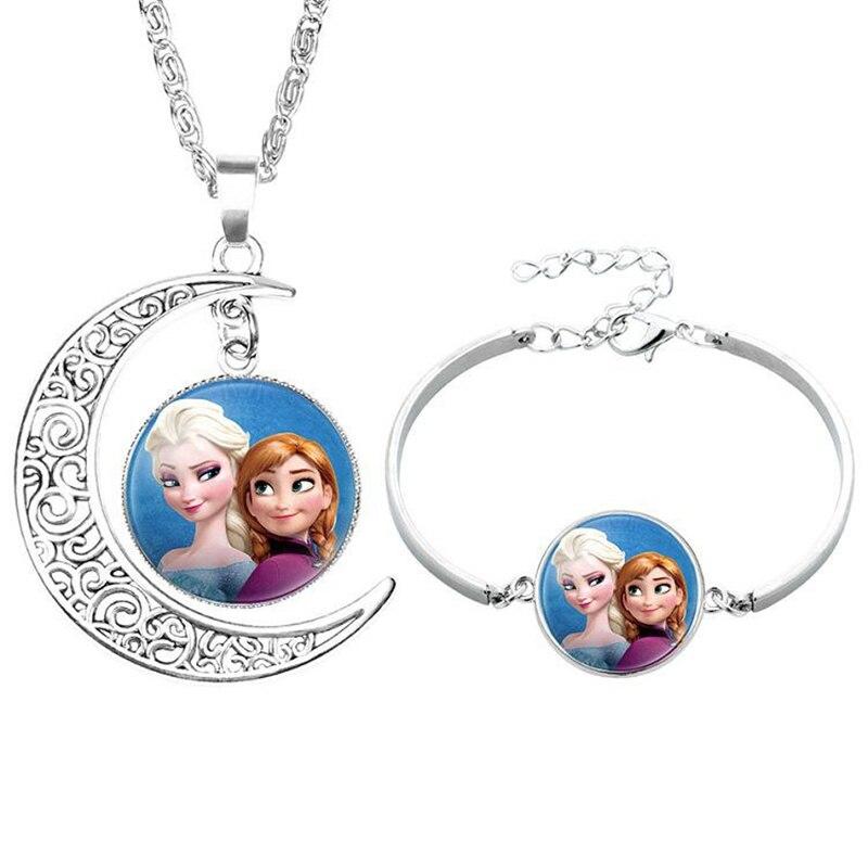 2pcs/lot Disney Cartoon Frozen Children Necklace+Bracelet Elsa Bow Doll Accessories Girl Birthday Gift Cosmetic Sweater Jewelry