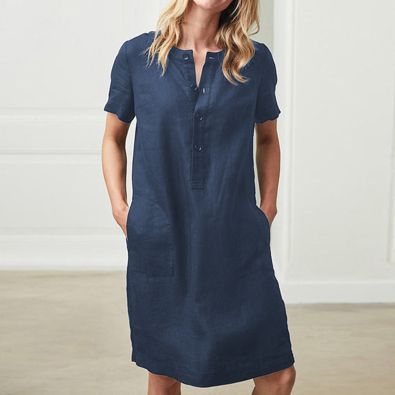 Women Short Sleeve Pocket Midi Dress Button Solid Plus Size 5XL Dresses Female 2020 Spring Summer Vintage Straight Clothes