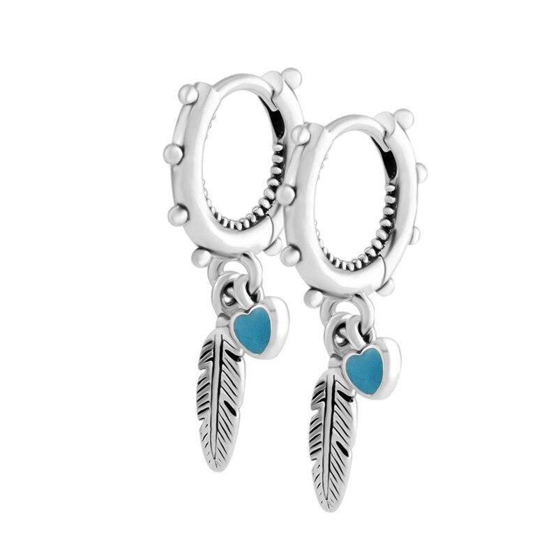 Spiritual Feathers Hoop Earrings Fashion 925 Sterling Silver Jewelry Color Enamel Heart Dangle Women Earrings Jewelry AccessoryHoop Earrings   -