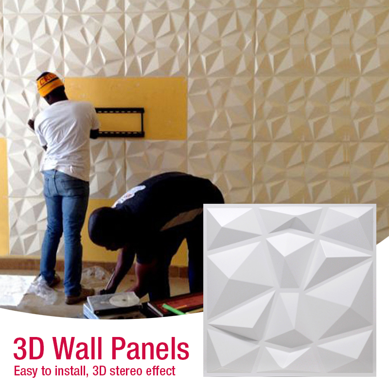 30x30cm 3D Art Wallboard Geometric Cut Diamond Wood Carved 3D Wall Sticker Decorative Board Painting Supplies & Wall Treatments