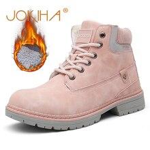 Женская зимняя обувь, теплые зимние ботинки из искусственной кожи, рабочие ботинки на толстой подошве, розовые ботинки, 2019