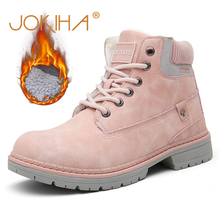 2019 Winter Shoes Woman Warm Snow Boots Women PU Leather Ladies Ankle Boots Men Outdoor Thick Bottom Tooling Boots Pink Booties