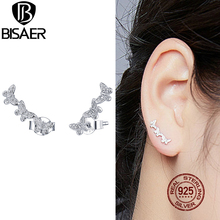 BISAER Flying Butterfly Stud Earrings 100% 925 Sterling Silv