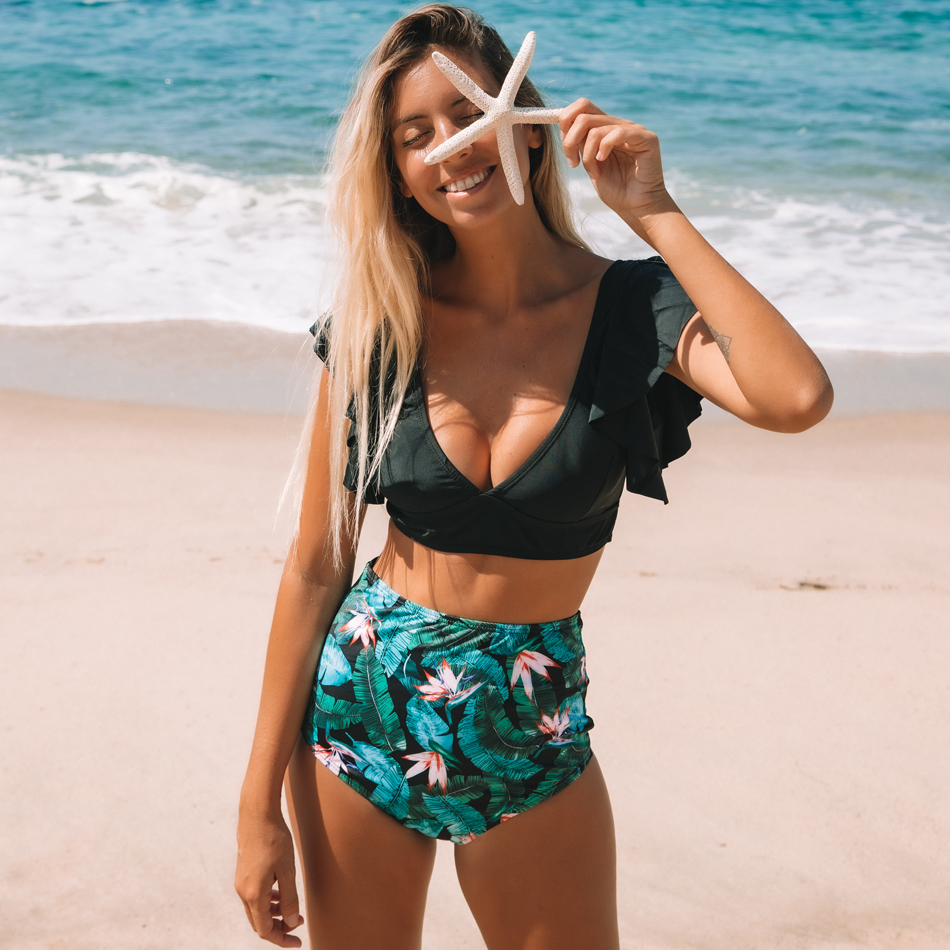 H370425b735194c3ca825d74847c1ed78k Ruffle High Waist Bikini 2019 Swimwear Women Swimsuit Push Up Bikinis Women Biquini Print Swimsuit Female Beachwear Bathing Suit