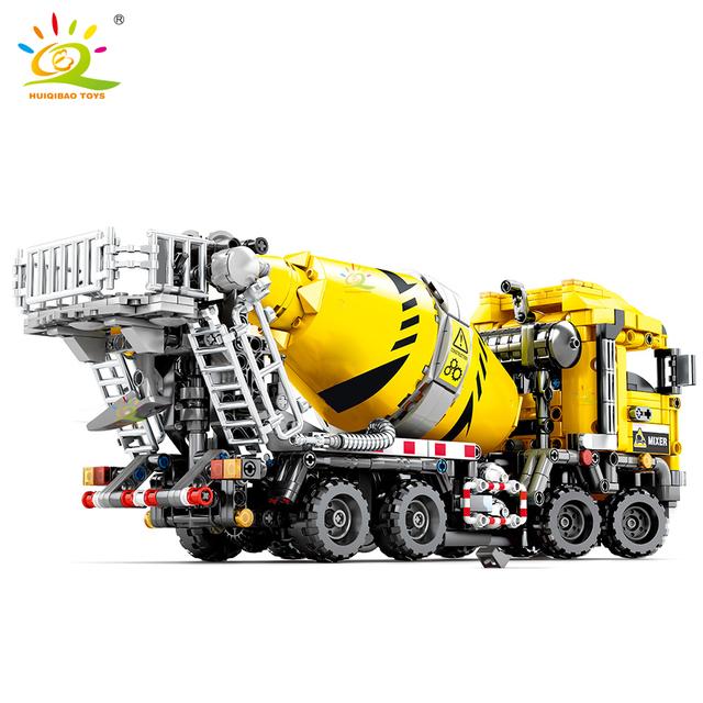 HUIQIBAO 1143pcs Concrete Mixer Car Building Blocks Technic Engineering truck City Construction Bricks Toys For Children boy