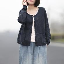 Johnature женский осенний хлопковый льняной однобортный вязаный кардиган с v-образным вырезом винтажный женский свитер с длинными рукавами и карманами