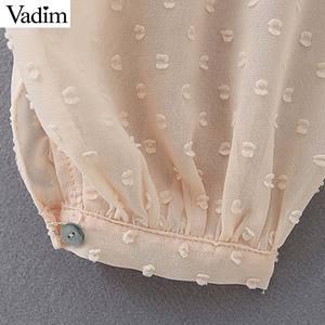 Image 5 - Vadim mujer puntos diseño Blusa con volantes cuello en V manga larga linterna camisa mujer casual elegante sólido blusas LB378