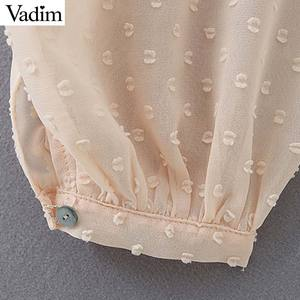 Image 5 - Vadim женская блузка в горошек с оборками, v образный вырез, длинный рукав фонарик, Женская Повседневная элегантная шикарная однотонные Блузы LB378