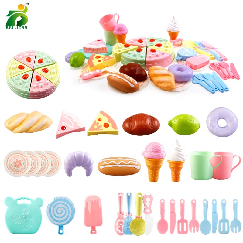 25-37Pcs Kitchen Set Pretend Play Girls Plastic Birthday Cake Cutting Vegetables Mini Food Cooking Education Childrens Toy Gift